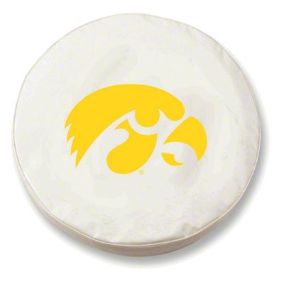 University of Iowa Spare Tire Cover - White (87-18 Jeep Wrangler YJ, TJ, JK & JL)