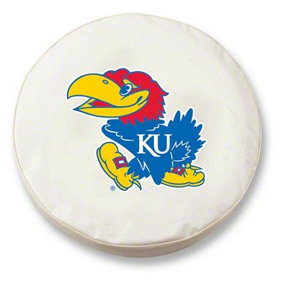 University of Kansas Spare Tire Cover - White (87-18 Jeep Wrangler YJ, TJ, JK & JL)