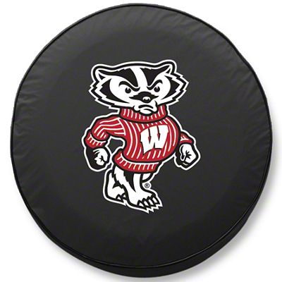 University of Wisconsin Bucky Spare Tire Cover - Black (87-18 Jeep Wrangler YJ, TJ, JK & JL)