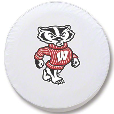 University of Wisconsin Bucky Spare Tire Cover - White (87-18 Jeep Wrangler YJ, TJ, JK & JL)