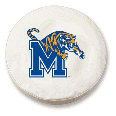 University of Memphis Spare Tire Cover - White (87-18 Jeep Wrangler YJ, TJ, JK & JL)