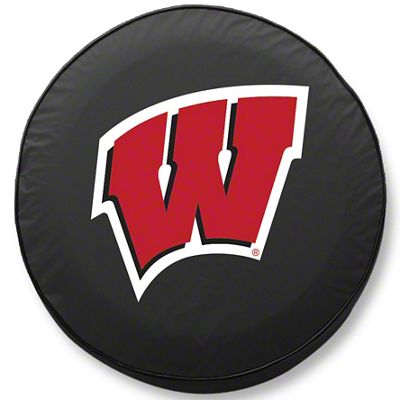 University of Wisconsin W Spare Tire Cover - Black (87-18 Jeep Wrangler YJ, TJ, JK & JL)