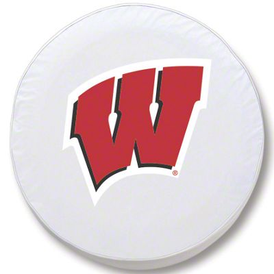 University of Wisconsin W Spare Tire Cover - White (87-18 Jeep Wrangler YJ, TJ, JK & JL)