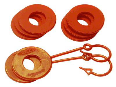 Daystar D-Ring Two Locking & Six Non-Locking Washers - Fluorescent Orange
