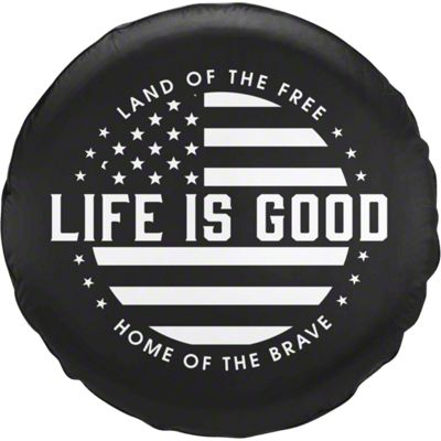 Life is Good Black & White Flag Spare Tire Cover (87-19 Jeep Wrangler YJ, TJ, JK & JL)