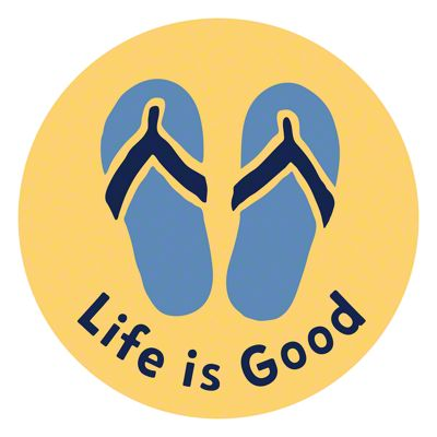 Life is Good Flip-Flops Circle Sticker