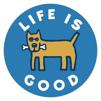 Life is Good Rocket with a Bone Circle Sticker