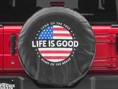 Life is Good Circle Flag Spare Tire Cover (87-18 Jeep Wrangler YJ, TJ, JK & JL)