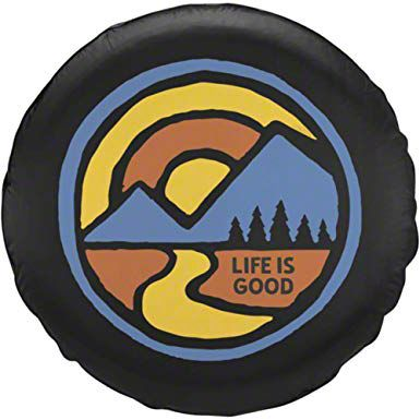 Life is Good Color Block Mountain Spare Tire Cover (87-18 Jeep Wrangler YJ, TJ, JK & JL)