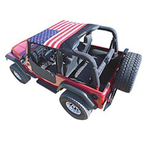 Vertically Driven KoolBreez Sun Screen Brief Top - American Flag (92-95 Jeep Wrangler YJ)