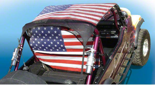 Vertically Driven KoolBreez Sun Screen Brief Top - American Flag (97-06 Jeep Wrangler TJ)