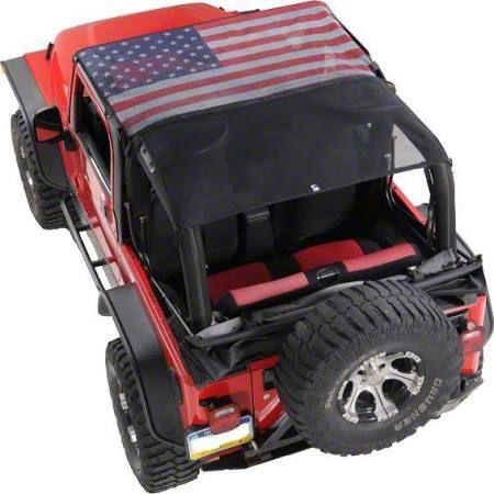 Vertically Driven KoolBreez Full-Length Sun Screen Brief Top - American Flag (92-95 Jeep Wrangler YJ)