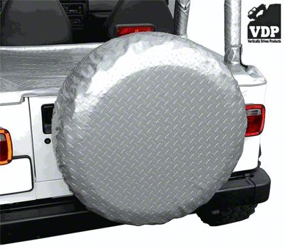 Vertically Driven 30-33 in. Spare Tire Cover - Silver Diamond Plate (87-18 Jeep Wrangler YJ, TJ, JK & JL)