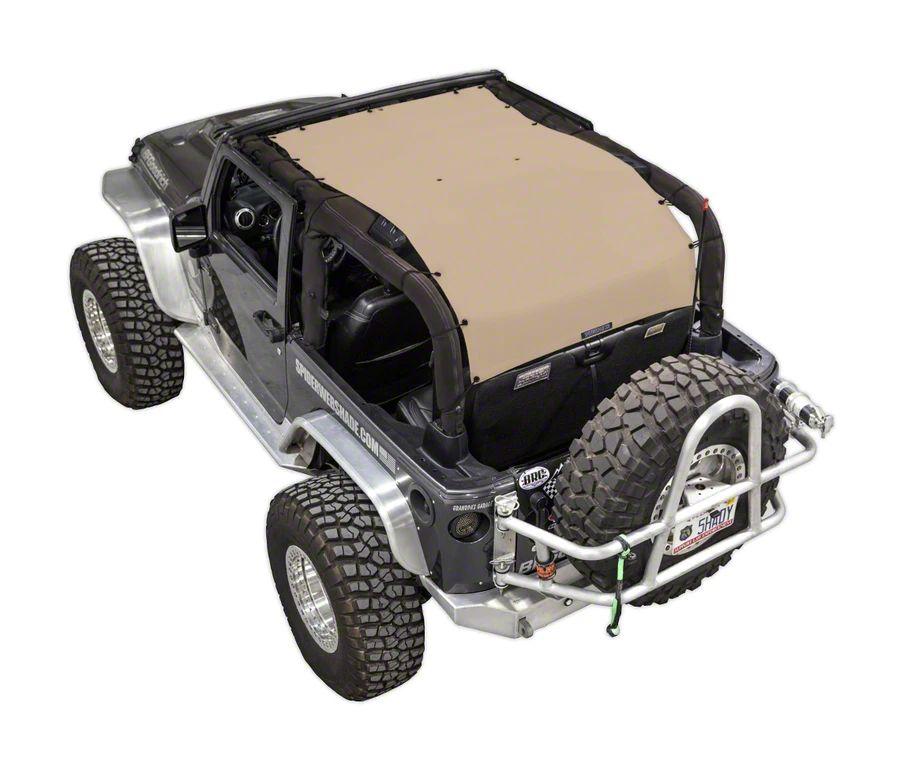 SpiderWeb Shade Extended Trail Mesh ShadeTop - Tan (07-18 Jeep Wrangler JK 2 Door)