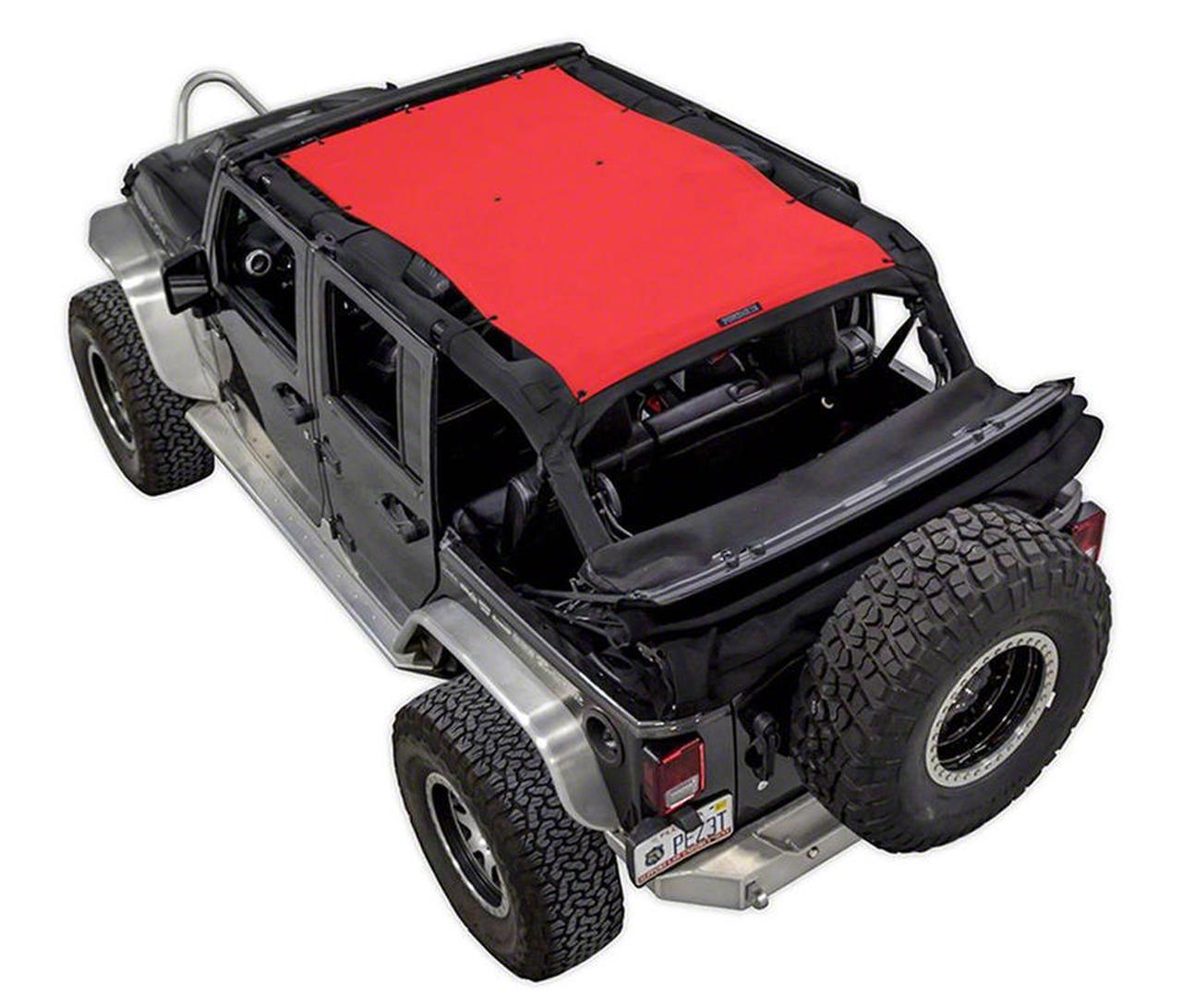 SpiderWeb Shade Trail Mesh ShadeTop - Red (07-18 Jeep Wrangler JK 4 Door)