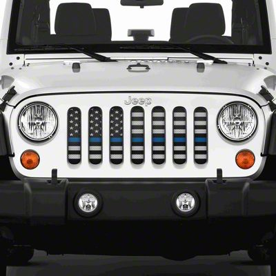 Dirty Acres Grille Insert - American Black & White Black the Blue (07-18 Jeep Wrangler JK)