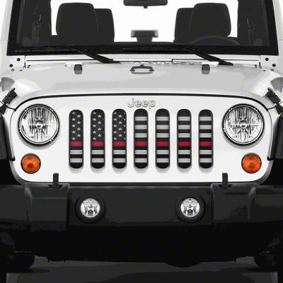 Dirty Acres Grille Insert - American Black & White Black the Red (07-18 Jeep Wrangler JK)
