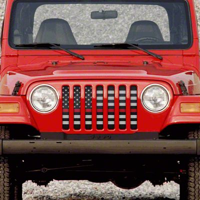 Dirty Acres Grille Insert - American Black & White Black the Red (97-06 Jeep Wrangler TJ)