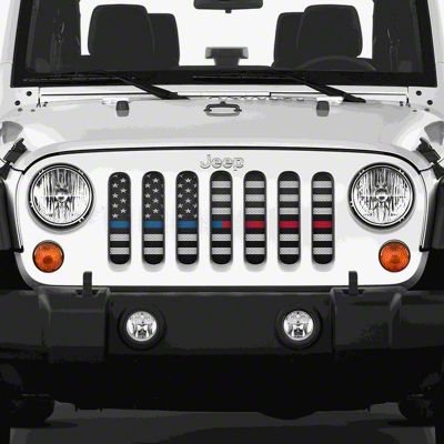 Dirty Acres Grille Insert - American Black & White Black the Blue & Red (07-18 Jeep Wrangler JK)