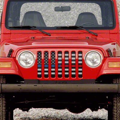 Dirty Acres Grille Insert - American Black & White Black the Blue & Red (97-06 Jeep Wrangler TJ)
