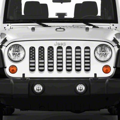 Dirty Acres Grille Insert - American Black & White (07-18 Jeep Wrangler JK)