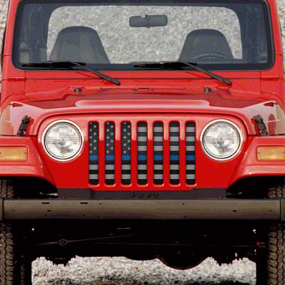 Dirty Acres Grille Insert - American Tactical Back the Blue (97-06 Jeep Wrangler TJ)