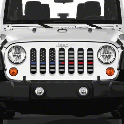 Dirty Acres Grille Insert - American Tactical Back the Blue & Red (07-18 Jeep Wrangler JK)