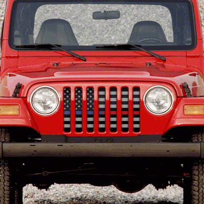 Dirty Acres Grille Insert - American Tactical Back the Blue & Red (97-06 Jeep Wrangler TJ)