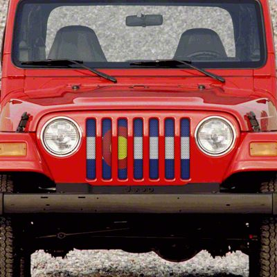 Dirty Acres Grille Insert - Colorado State Flag (97-06 Jeep Wrangler TJ)