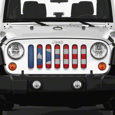 Dirty Acres Grille Insert - Puerto Rico Flag (07-18 Jeep Wrangler JK)
