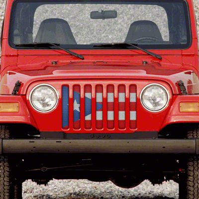 Dirty Acres Grille Insert - Puerto Rico Flag (97-06 Jeep Wrangler TJ)