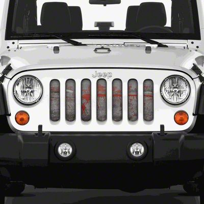 Dirty Acres Grille Insert - Splatter Red Paint (07-18 Jeep Wrangler JK)