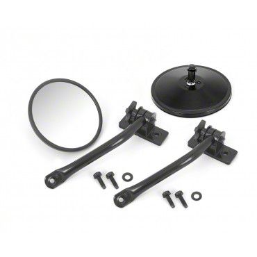Outland Quick Release Round Mirrors - Black (97-18 Jeep Wrangler TJ & JK)