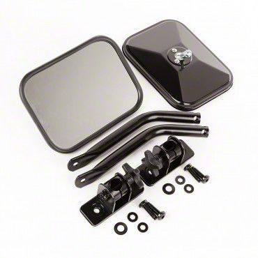 Outland Quick Release Rectangular Mirrors - Black (97-18 Jeep Wrangler TJ & JK)