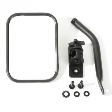 Outland Quick Release Rectangular Mirror - Textured Black (97-18 Jeep Wrangler TJ & JK)