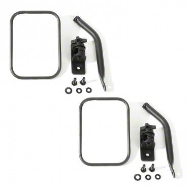 Outland Quick Release Rectangular Mirrors - Textured Black (97-18 Jeep Wrangler TJ & JK)