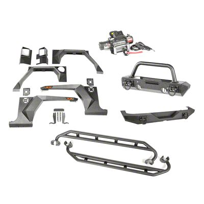 Rugged Ridge XHD Armor Package w/ Hoop Over Rider (07-18 Jeep Wrangler JK 4 Door)