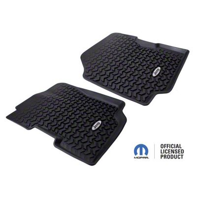 Rugged Ridge All-Terrain Front Floor Mats w/ Jeep Logo - Black (87-95 Jeep Wrangler YJ)