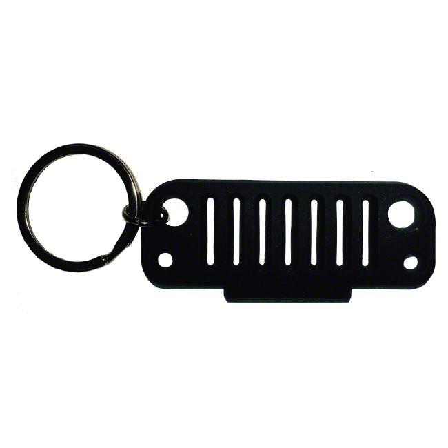 JK Grille Rubber Keychain - Black