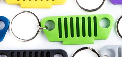 TJ Grille Rubber Keychain - Green