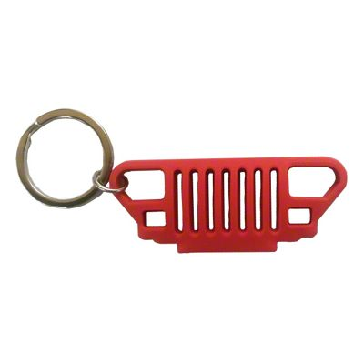 YJ Grille Rubber Keychain - Red