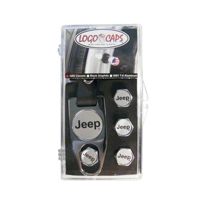 Jeep Logo Valve Team Caps - Chrome & Silver (87-18 Jeep Wrangler YJ, TJ, JK & JL)