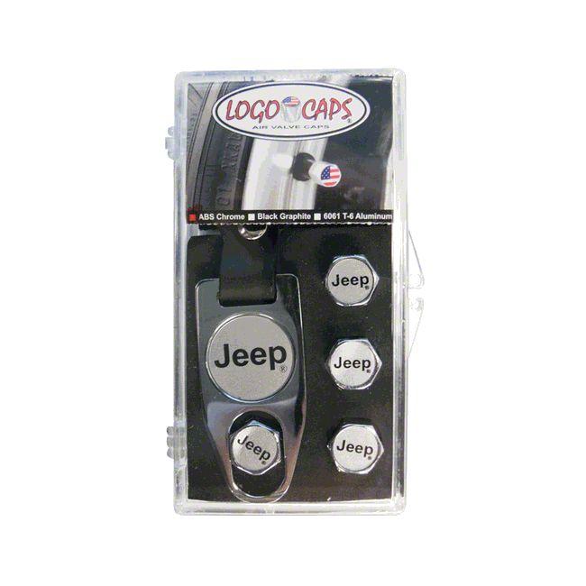Jeep Logo Valve Team Caps - Black & Silver (87-18 Jeep Wrangler YJ, TJ, JK & JL)