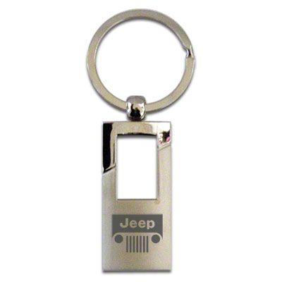 Chrome FOB Rectangle Keychain w/ Wrangler Logo
