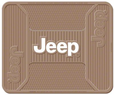 Alterum Jeep Logo Elite Rear Utility Floor Mat - Tan (87-19 Jeep Wrangler YJ, TJ, JK & JL)