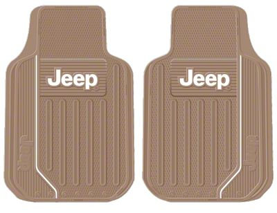 Alterum Jeep Logo Elite Series Front Floor Mats - Tan (87-19 Jeep Wrangler YJ, TJ, JK & JL)