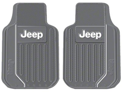 Alterum Jeep Logo Elite Series Front Floor Mats - Gray (87-19 Jeep Wrangler YJ, TJ, JK & JL)