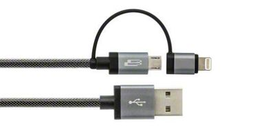 Bracketron PwrRev Mirco USB Cable w/ Lightning Adapter