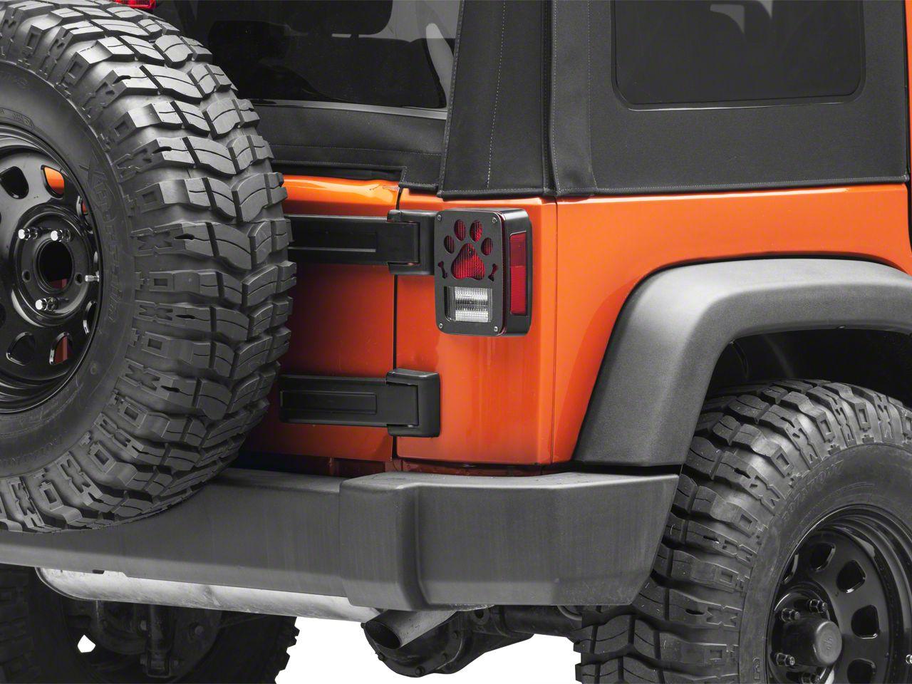 Jeep Tweaks Tail Light Guards - Paws & Bones Design (07-18 Jeep Wrangler JK)