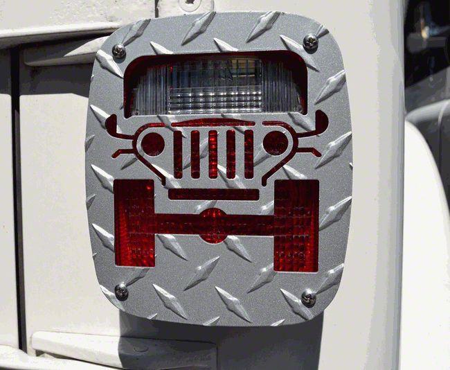 Jeep Tweaks Silver Tail Light Guards - Jeep Wrangler Design (87-06 Jeep Wrangler YJ & TJ)